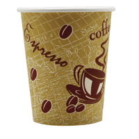Single Wall Paper Cup 8oz Printed 8209936 Pack of 50