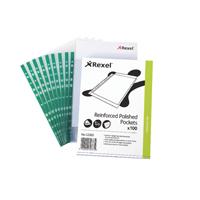 Rexel Copyking Clear Reinforced Pockets CKP/A4 Polypropylene 12265 (Pack of 100)