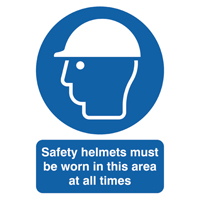 Safety Helmets Must be Worn A4 PVC Sign