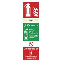 Fire Extinguisher Foam 300mm x 100mm S-Adh Sign
