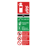 CO2 Fire Extinguisher 280x90mm PVC Sign