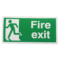 Fire Exit Man Left 150x300mm Slf-Ad Sign
