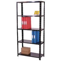 Med Duty Black Bolted 5-Shelf Unit