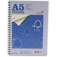 Silvine A5 Twin Wire Notebook 160 Pages Feint Ruled FSCTWA5