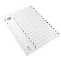 A4 White 1-15 Mylar Index WX01530