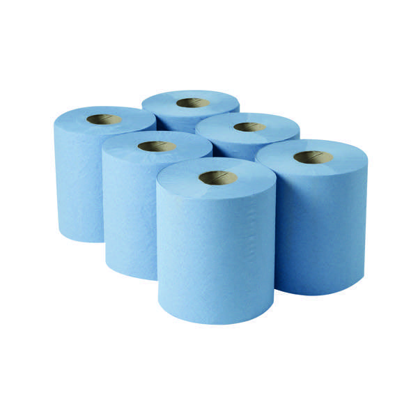 Image for 2Work Centrefeed Roll 3Ply Blue 135m Pk6