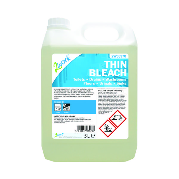 2Work Thin Bleach Fresh Scent 5 Litre Bulk Bottle206