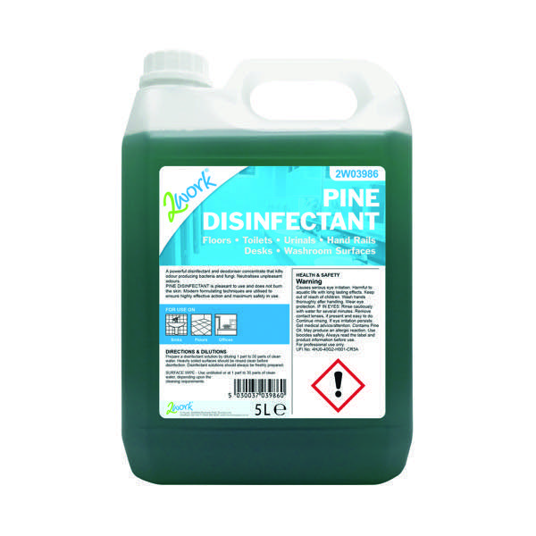 2Work Disinfectant and Deodoriser Fresh Pine 5 Litre Bulk Bottle 204