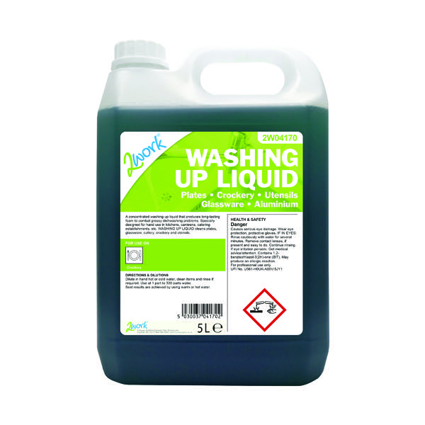 2Work Gentle Washing Up Liquid Fresh Scent 5 Litre Bulk Bottle 432