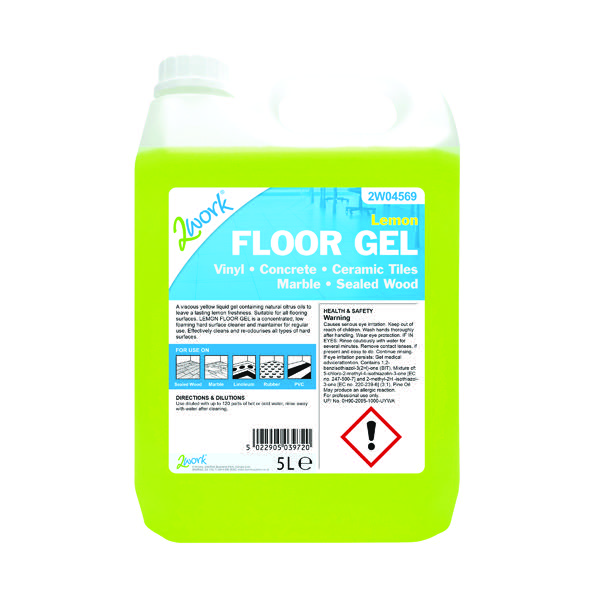 2Work Lemon Floor Gel Concentrate 5 Litre Bulk Bottle 2W04569