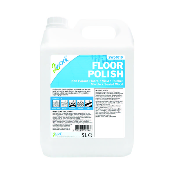 2Work Hard-Wearing Floor Polish Concentrate 5 Litre Bulk Bottle 109
