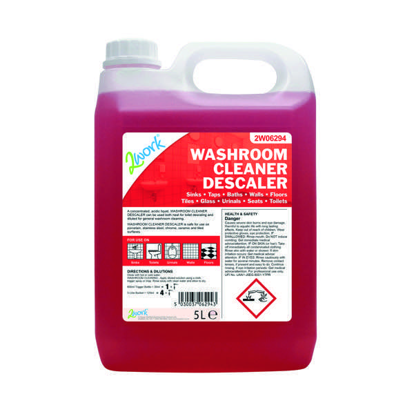 2Work Washroom Cleaner and Descaler 5 Litre 2W06294