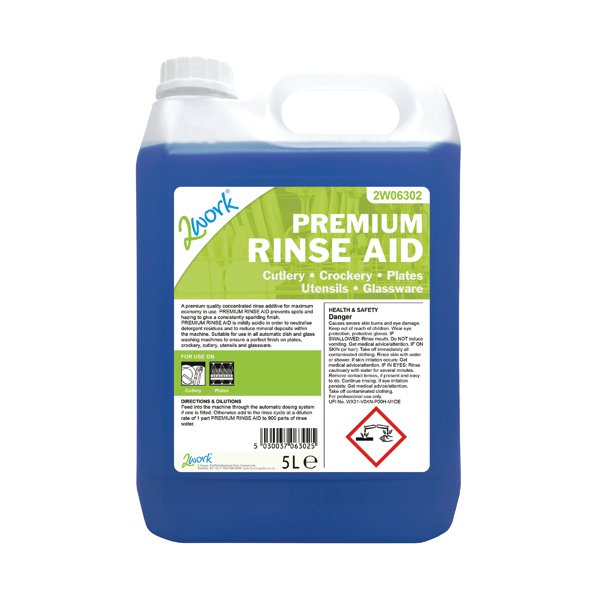 2Work Premium Rinse Aid Concentrate 5 Litre Bulk Bottle 407