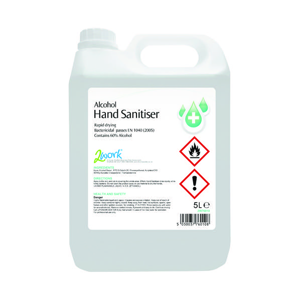 2Work Hand Sanitiser 5 Litre 222