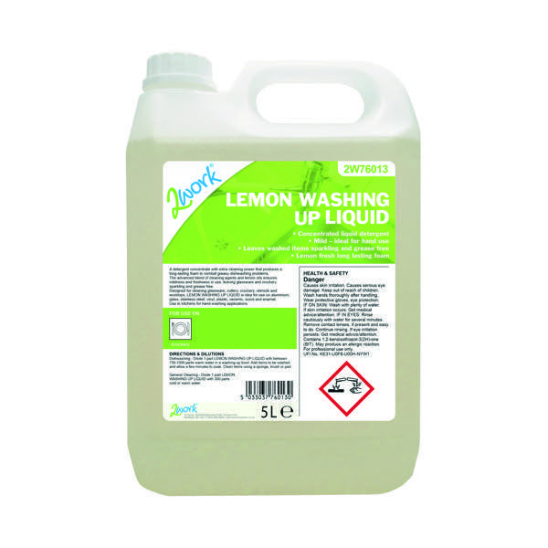 Image for 2Work Washing Up Liquid Lemon 5L