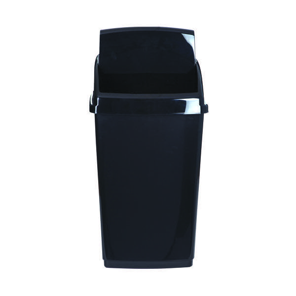 Image for 2Work Black Swing Top Bin 30 Ltr