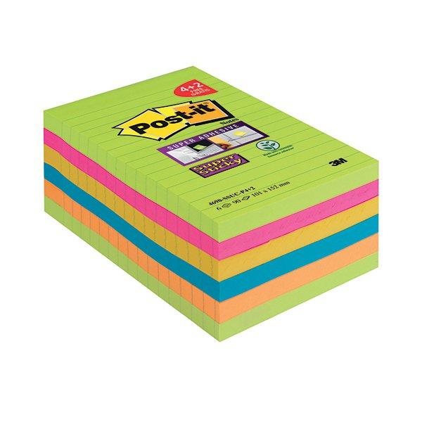 Post-it Super Sticky Notes XXL Pk 6