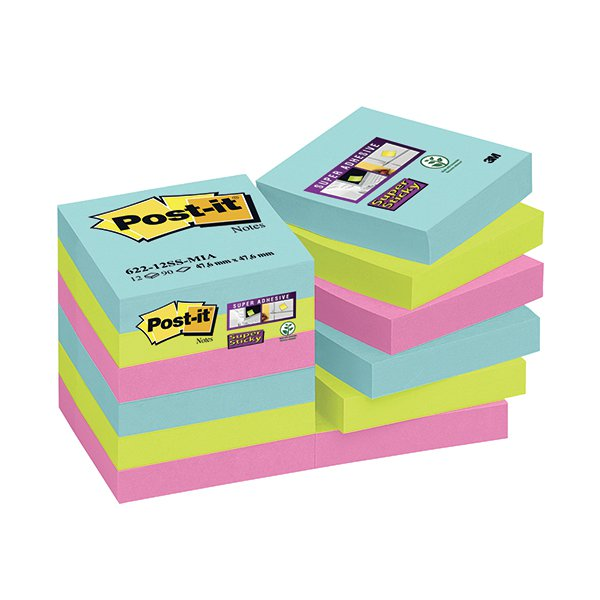 Post-it Super Sticky 47.6mm Miami Notes