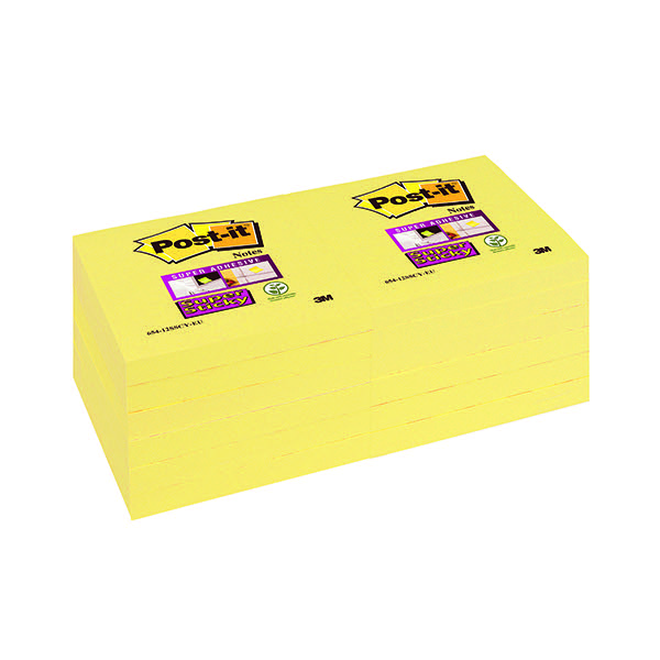 Post-it Super Sticky Note Canary Yellow 76 x 76mm 654-12SSCY Pack of 12