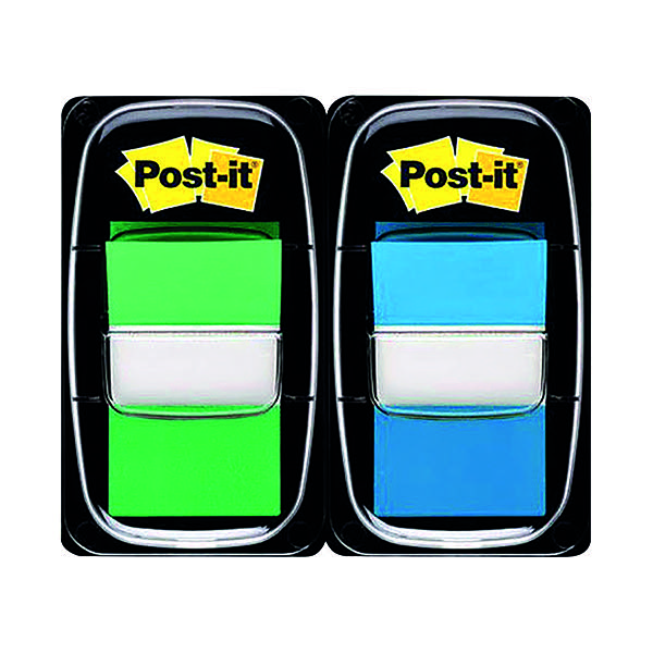 Post-it Index 1 Inch Dual Pack Green and Blue 680-GB2