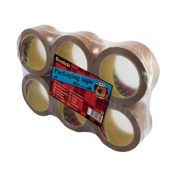 Scotch Packaging Tape Heavy 50mm x 66m Brown (Pack of 6) PVC5066F6 B