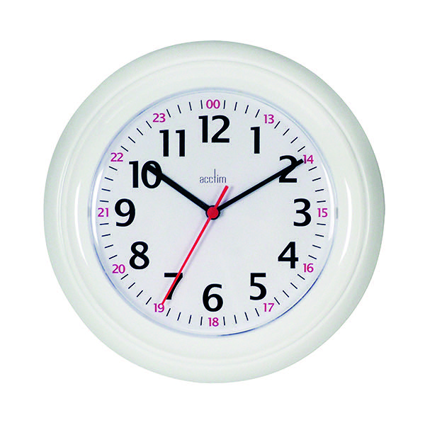 Acctim Wexham White 24 Hour Plastic Wall Clock 21862
