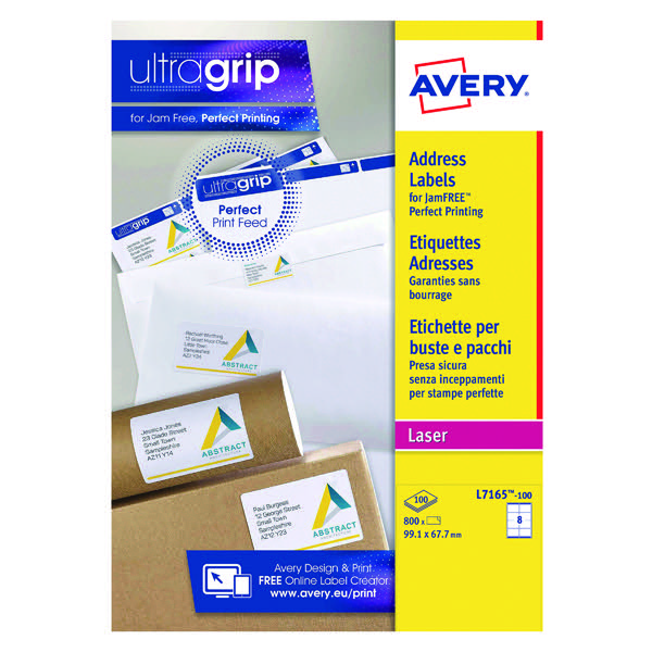 Avery White Laser Parcel Labels 99.1 x 67.7mm 8 Per Sheet (Pack of 800) L7165-100