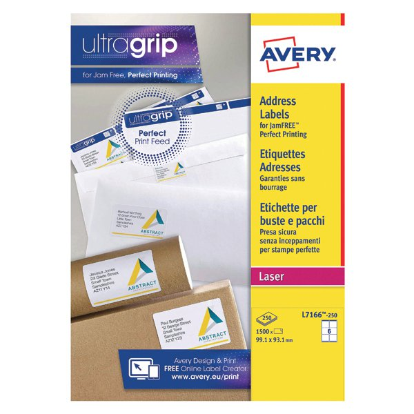 avery white laser parcel labels 99 1 x 93 1mm 6 per sheet pack of