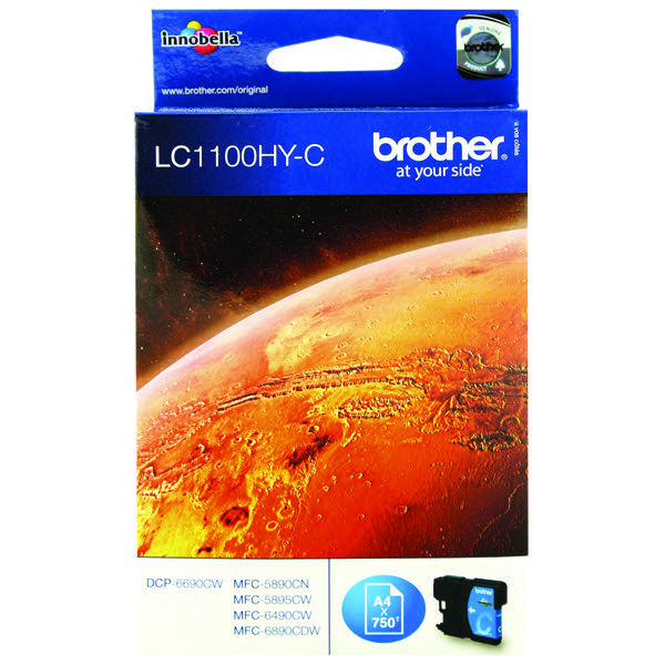 Brother LC-1100 High Yield Cyan Inkjet Cartridge LC1100HYC