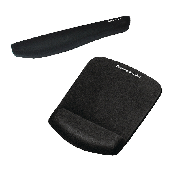 Fellowes Plushtouch Mousepad with Support Black and Free Keyboard Wrist Rest BB810546