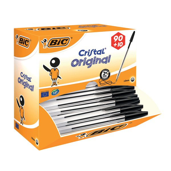 Bic Cristal Medium Ballpoint Black Pen (Pack of 100) 896040