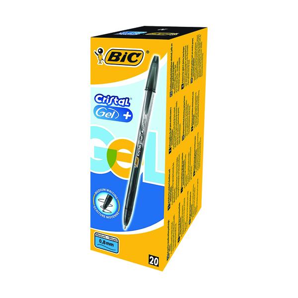 Bic Cristal V2 Gel Black Pen 0.8mm (Pack of 20) 843884