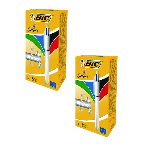 BIC 4 Colour Shine Assorted BOGOF (2 Packs of 24) BC810737