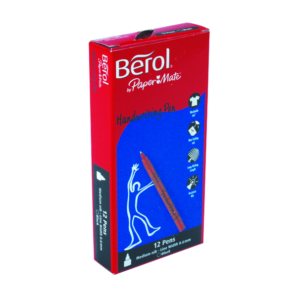 Berol Handwriting Black Pen (Pack of 12) S0378680
