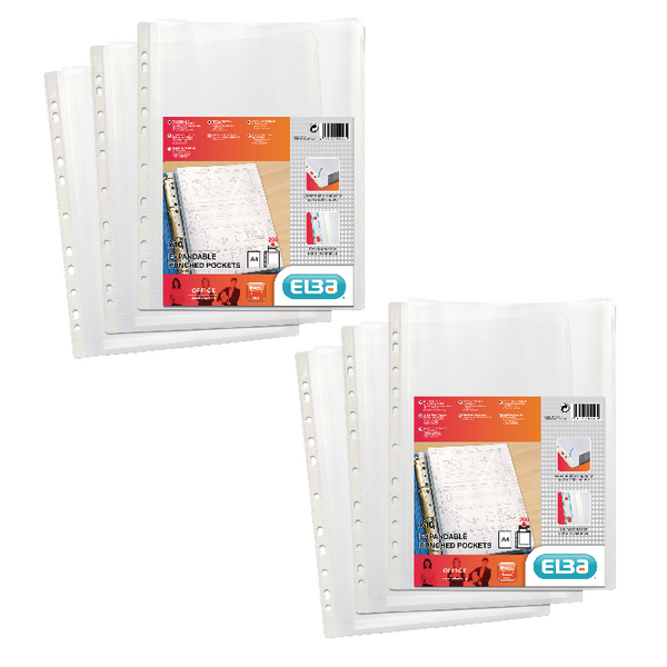 Elba Expanding Punched Pockets A4 (2 Packs of 10) BX810429