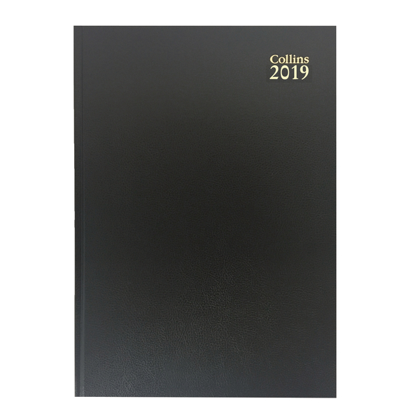 Collins A4 Desk Diary Week to View 2019 Black 40
