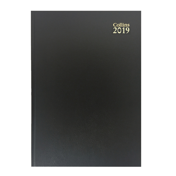Collins A4 Desk Diary Day/Page 2019 Black 44