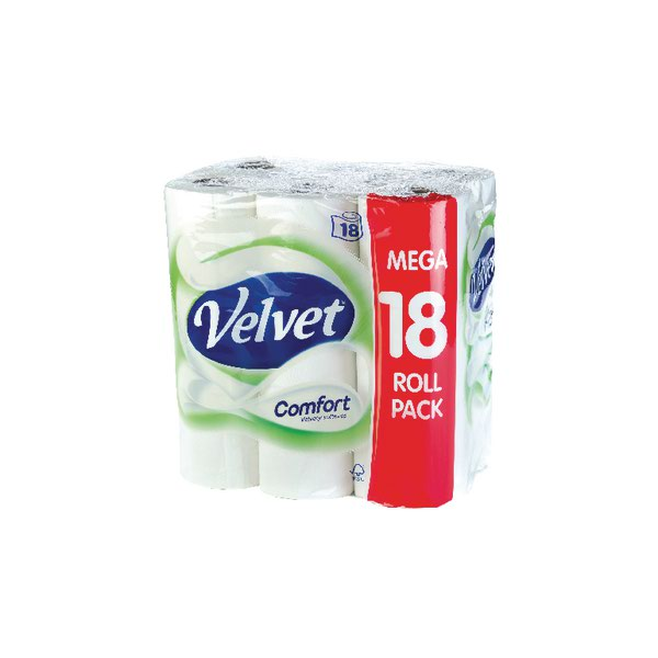 Triple Velvet Toilet Roll 3-Ply Pack 18 White KSCATV18