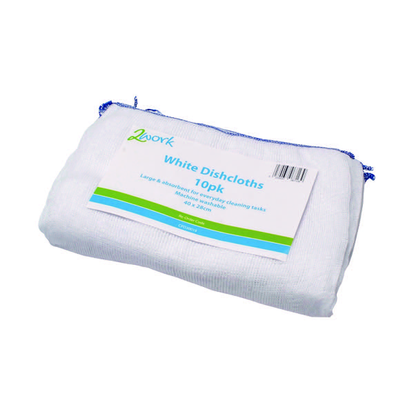 2Work Dishcloth 300x400mm White (Pack of 10) 100212