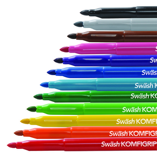 Swash Komfigrip Colouring Pen Broad Tip Assorted (Pack of 12)