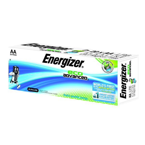 Energizer EcoAdv AA Batteries E91 Pk20