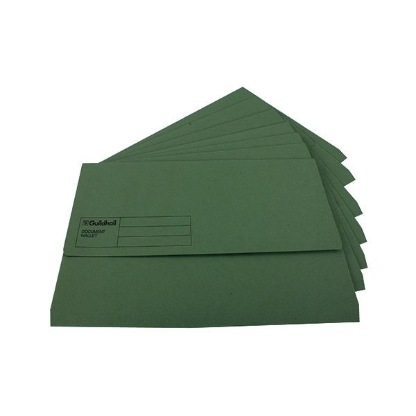 Guildhall Foolscap Green Document Wallet (Pack of 50) GDW1-GRN