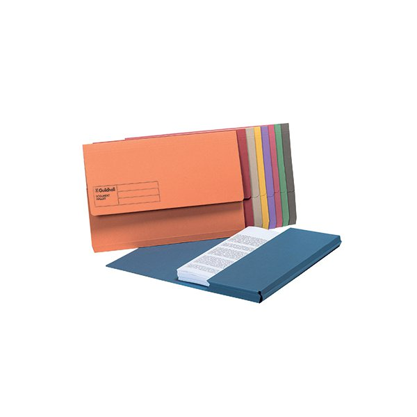 Guildhall Foolscap Assorted Document Wallets (Pack of 50) GDW1-AST