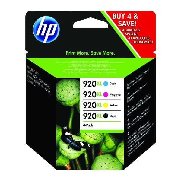 HP 920XL Black /Cyan/Magenta/Yellow High Yield Inkjet Cartridge (Pack of 4) C2N92AE