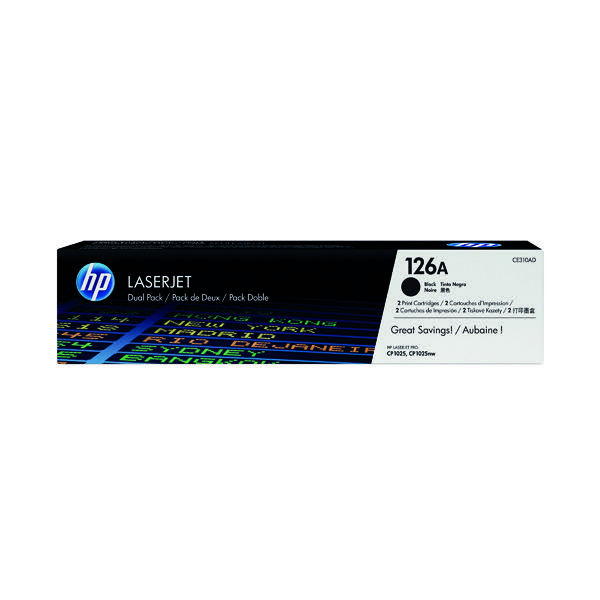 HP 126A Black LaserJet Toner Cartridge Twin Pack CE310AD
