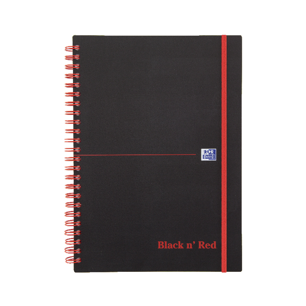 Black n Red Wirebound Elasticated Notebook A5 Polypropylene 140 Pages (2 Packs of 5) JD831001