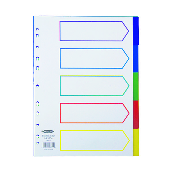 Concord 5-Part Index Polypropylene Multicoloured A4 06801