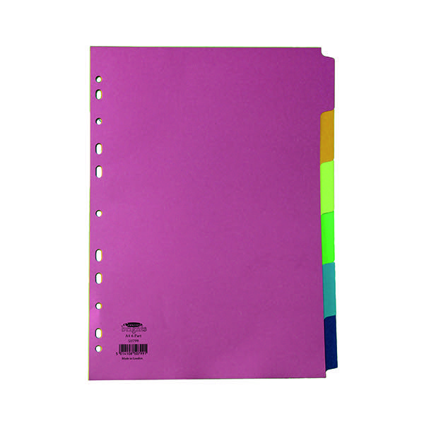 Concord Divider 6-Part A4 160gsm Bright Assorted 50799