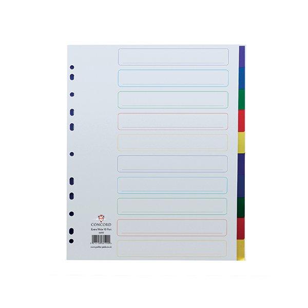 Concord Divider 10-Part A4 Extra Wide Polypropylene Multicolour 66199