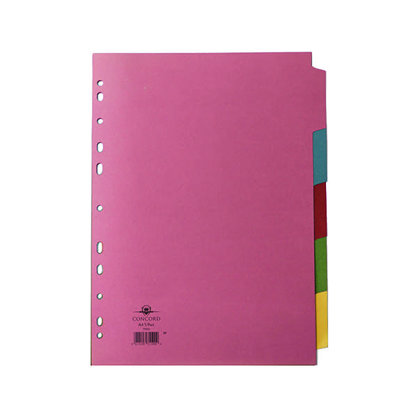 Concord Divider 5-Part A4 160gsm Multicoloured (Pack of 5) 71190
